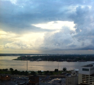 Storm clouds over the Mississippi River, New Orleans. Photo credit: Josephine Ensign/2014