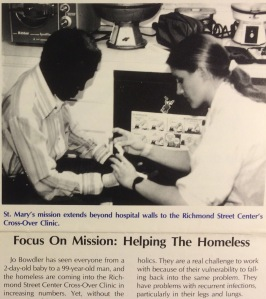 Josephine Ensign (Bowdler then) at Cross-Over Clinic. From The Bon Secours Courier/St. Mary's Hospital June 1987.